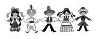 dancing children silhouette on white background, vector illustration