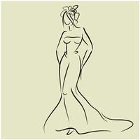 art sketching beautiful young  bride