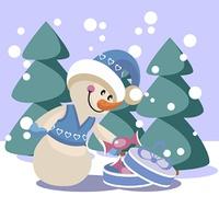Vector. Snowman in color 19