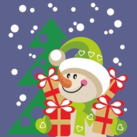 Vector. Snowman  with gift in color 20