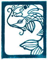Woodblock print of koi fish in blue.
