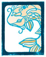 Woodblock print of koi fish.