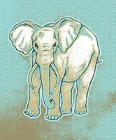 Hand drawn elephant on grunge wave background.