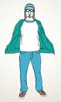 Line drawing of man with t-shirt.