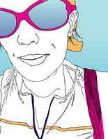 Line drawing of girl with sunglasses.