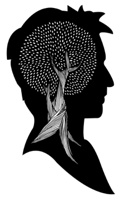 Silhouette of man's head with hand drawn tree.
