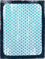 Blue wave pattern in border.