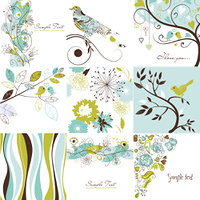 Set of cute floral greeting cards
