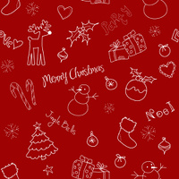 Christmas doodles. Seamless pattern