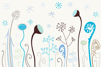 Cute winter flowers with snowflakes