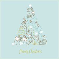 Christmas tree made of cartoon holiday symbols