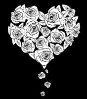 Valentines heart on black, vector