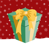 Vector illustration of Christmas presents box on the red background with the white snowflakes