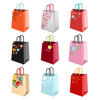 Vector illustration  set of shiny shopping bags with  decoration elements