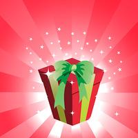 Vector Illustration of birthday giftbox on the shiny background.