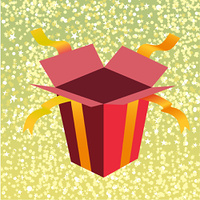 Vector Illustration of open birthday giftbox on the shiny background.