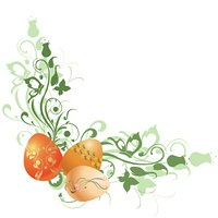 Vector Illustration of beautiful floral frame decorated with Easter Eggs.