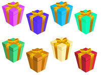 Vector illustration of Colorful gift boxs set
