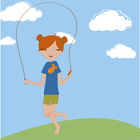 Vector Illustration of the little girl jumping with the skipping rope.