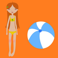 Vector Illustration of funny summer background with the little girl and the ball.