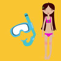 Vector Illustration of funny summer background  with the little girl and snorkel mask.