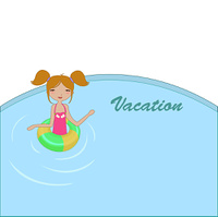 Vector Illustration of funny Kiddie style design summer background with the little girl in the water