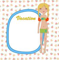Vector Illustration of funny Kiddie style design summer background