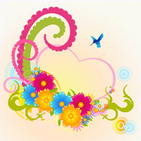 Vector illustraition of funky floral frame with heart shape