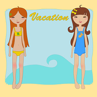 Vector Illustration of funny summer background with two little girls on the beach.