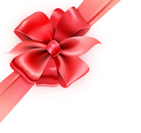 Vector illustration of gift wrapped white paper with a red ribbon and classic bow