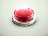 Vector illustration of shiny red emergency button