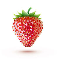 Vector illustration of a beautiful ripe red fresh strawberry isolated on white background
