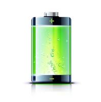 Vector illustration of detailed glossy battery full level indicator icon