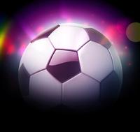 Vector illustration of detailed glossy football/soccer ball over blurred magic neon light background