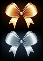 Vector illustration of classic golden and silver bows isolated on black background