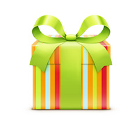 Vector illustration of multicolored present box with green bow isolated on white background.