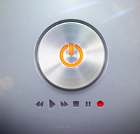 Vector illustration of the detailed round power button for media player -  buttons in metallic style. Good for your websites, blogs or applications.
