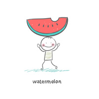 Watermelon and people