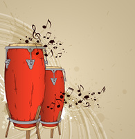 Music background with red drums and notes