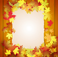 Autumn background with leaves, wood boards and cardboard banner