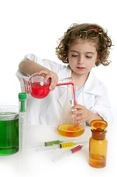 Girl pretending to be doctor in the laboratory
