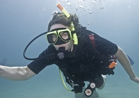 Underwater scene with scuba diver