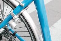 A closeup of a bicycle lock