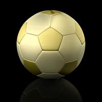 golden soccer ball isolated on black background