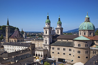 Salzburg cityscape. View from hill.
