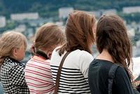Rear view of four female friends, Floyen, Bergen, Norway