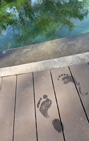 Closeup on wet footprints on deck
