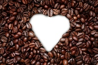 Coffee heart on the white background