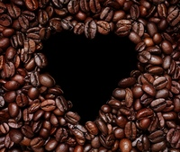 Coffee heart on the black background
