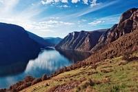 Norway fjord landscape on sunset.